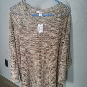 NWT 3X CJ Banks Pink & Olive Sweater